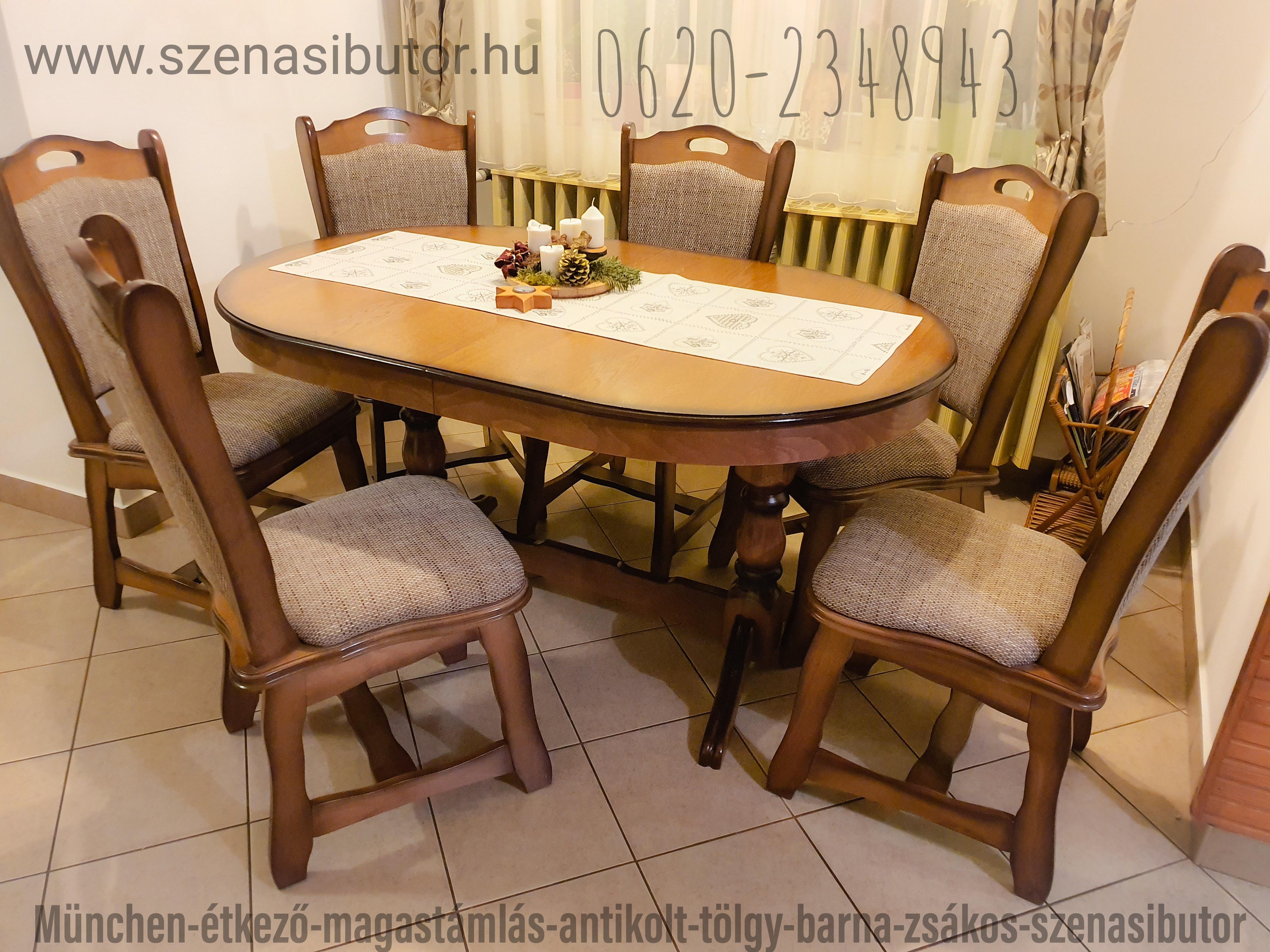 magas háttámlás tölgy székek